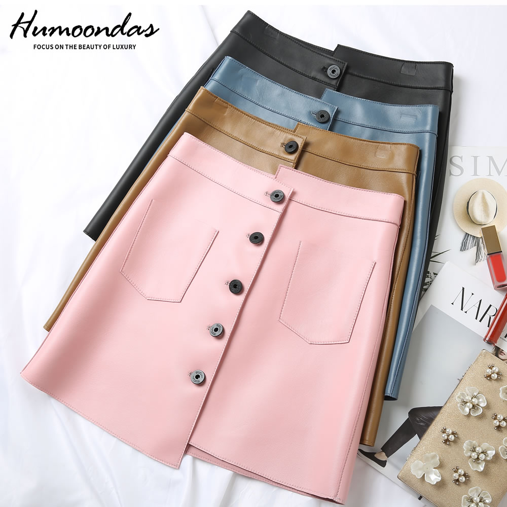 Sheepskin 100% Real Womens Mini Short Genuine Leather Skirts Spring Autumn Elegant Office Skirt 2020 Blue Pink Black Yellow