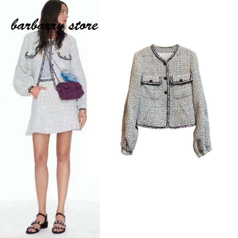2021 luxury brand Plaid knitting fashion women's coat temperament versatile slim suit casual round neck single breasted jacket