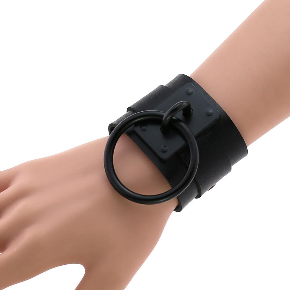 Pulseira de couro preto pulseiras de punho largo pulseira goth jóias gothic emo braçadeiras cosplay acessórios
