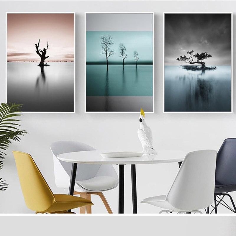 Estilo nórdico impressão parede arte lago e árvore paisagem poster casa decoração citações pintura imagem para sala de estar imagem 3-02