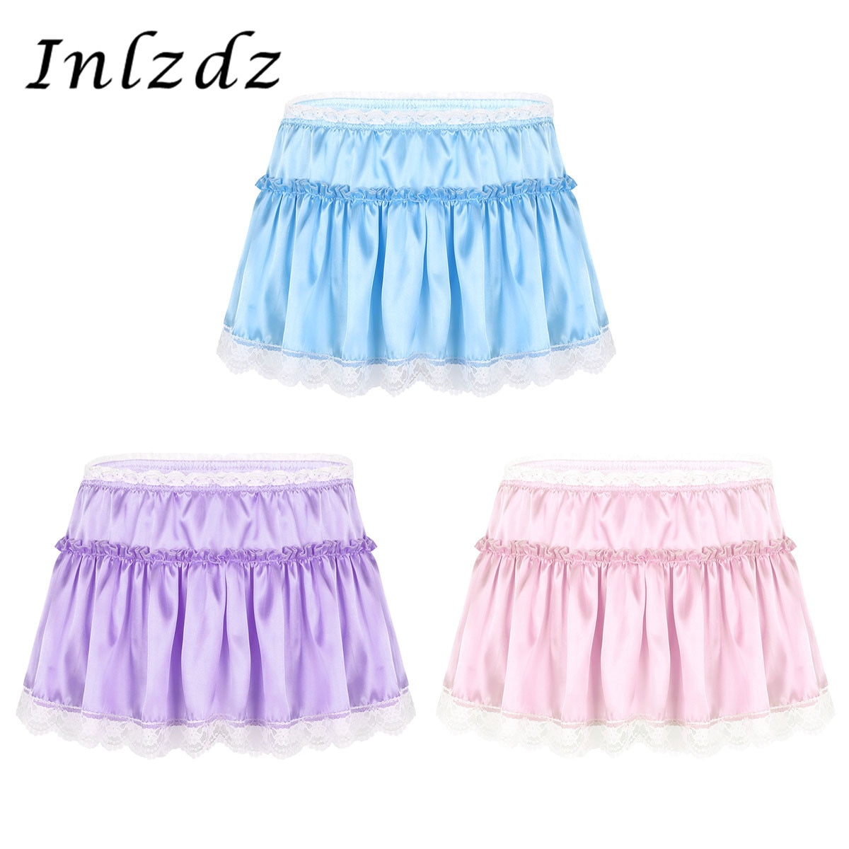Minifalda de lencería para mujer, de satén, con dobladillo y encaje, con volantes, con volantes
