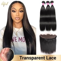 hd transparent lace frontal with bundles brazilian straight hair bundles with frontal human hair bundles with frontal for women