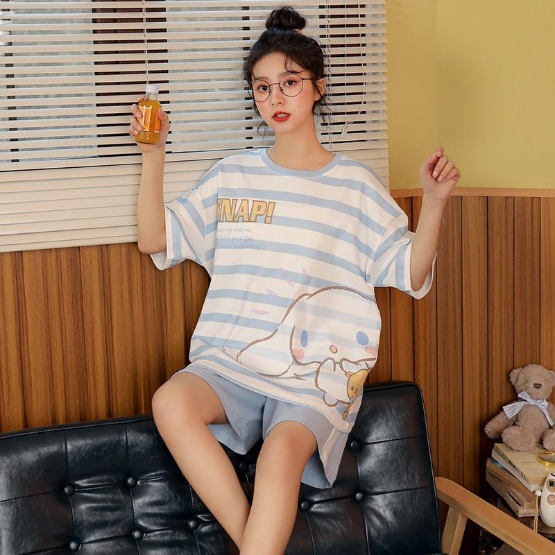 Женские-пижамы-Летний-милый-зайчик-2021-новая-хлопчатобумажная-футболка-с-коротким-рукавом-и-интернет-Горячая-размера-плюс-Сезон-весна-осен
