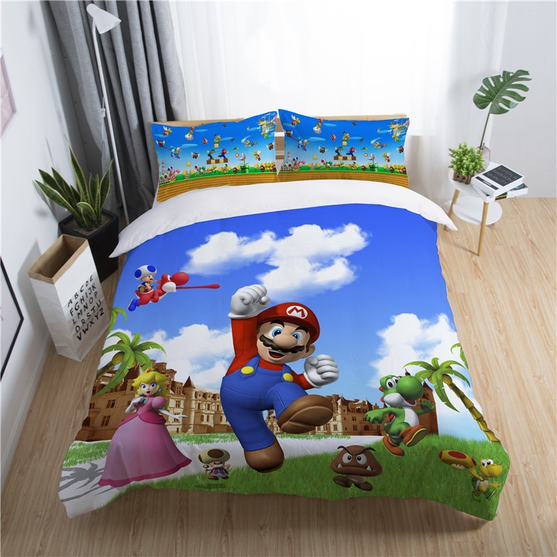 super mario land game boys bedding set king queen double full twin single size bed linen set