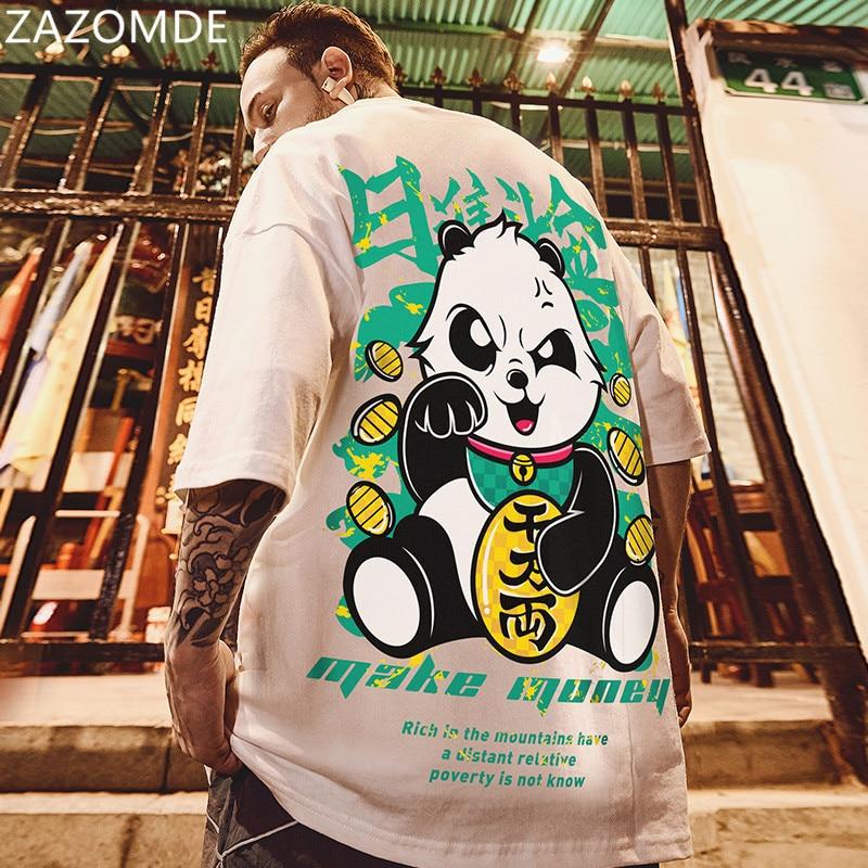 ZAZOMDE-تي شيرت على الطراز الصيني للرجال ، تي شيرت بأكمام قصيرة مع طباعة Lucky Panda ، تي شيرت هيب هوب غير رسمي ، ملابس الشارع ، صيف 2021