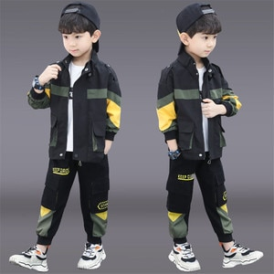 New Spring Autumn Children Outfit Clothes Fashion Boy 2pcs Set Sportswear Kids Casual Tracksuit Teens Zip Jacket Coat+ Trousers
