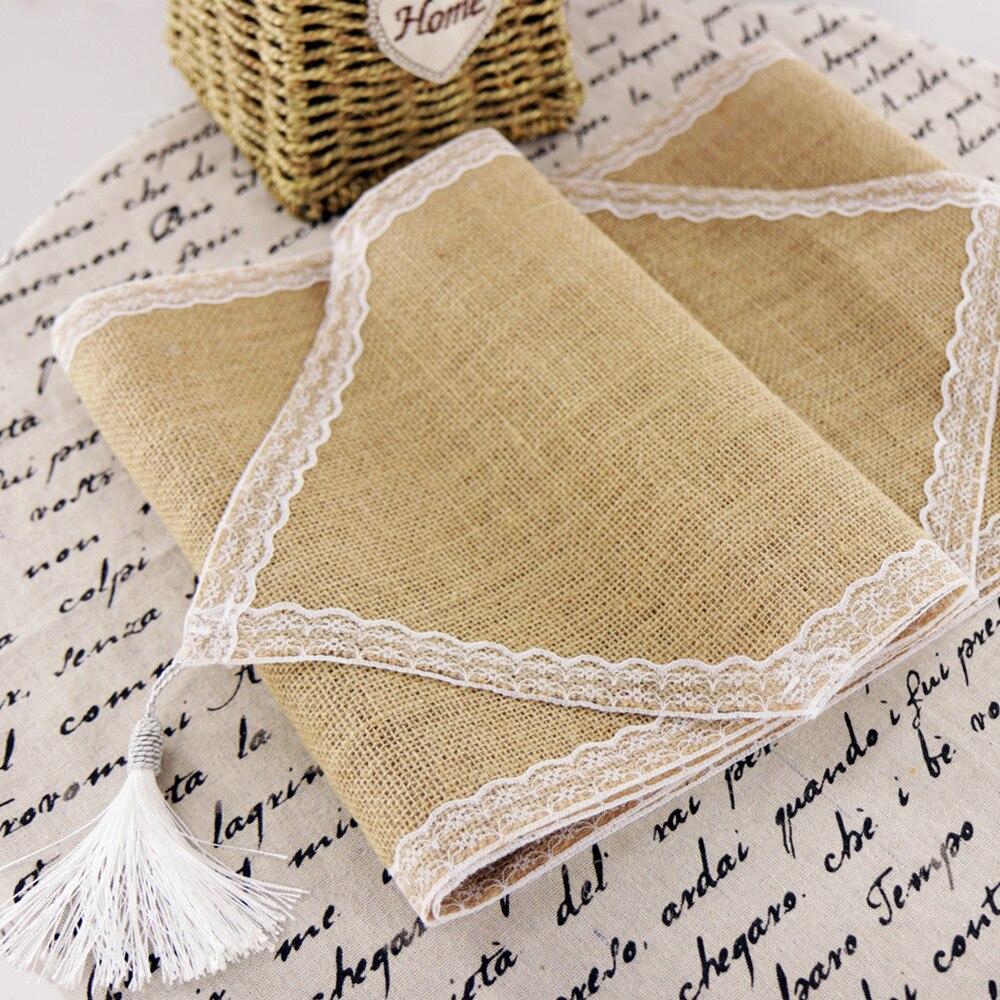 Винтажная Кружевная салфетка из натурального мешковины для свадебного обеда Hessian Jute Party имитация льняного банкета для домашнего декора