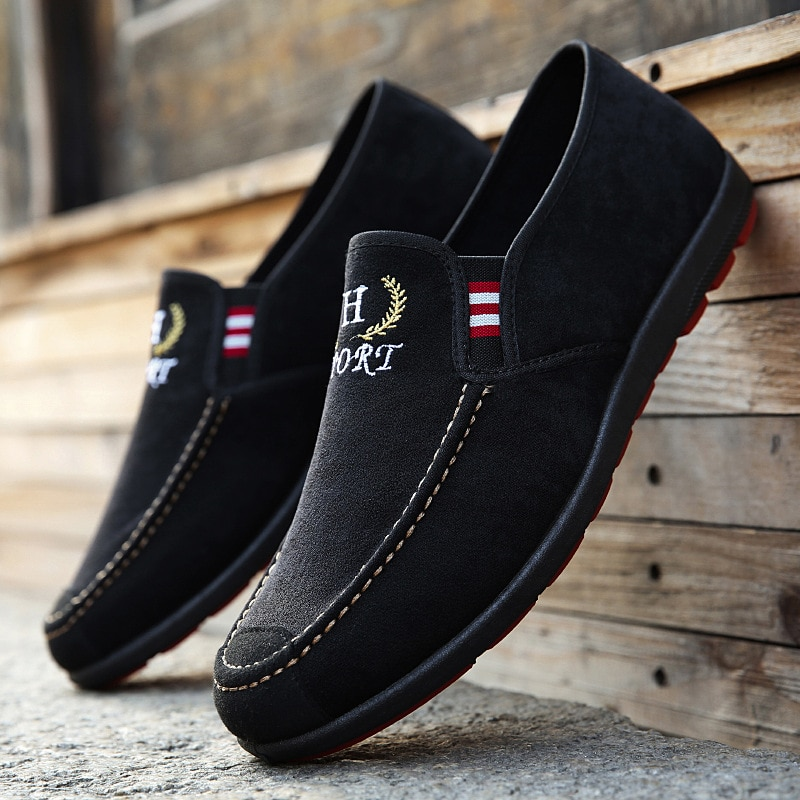 Men's 2021 Spring New Casual Single Shoes Sneakers Low-top Washed Canvas Peas Shoes Men
