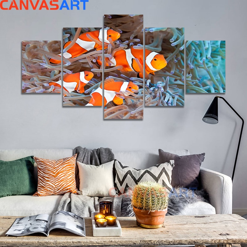 Подводный мир Рыбы клоун коралловый риф холст картины гостиной Плакаты для спальни и принты настенный Декор для дома