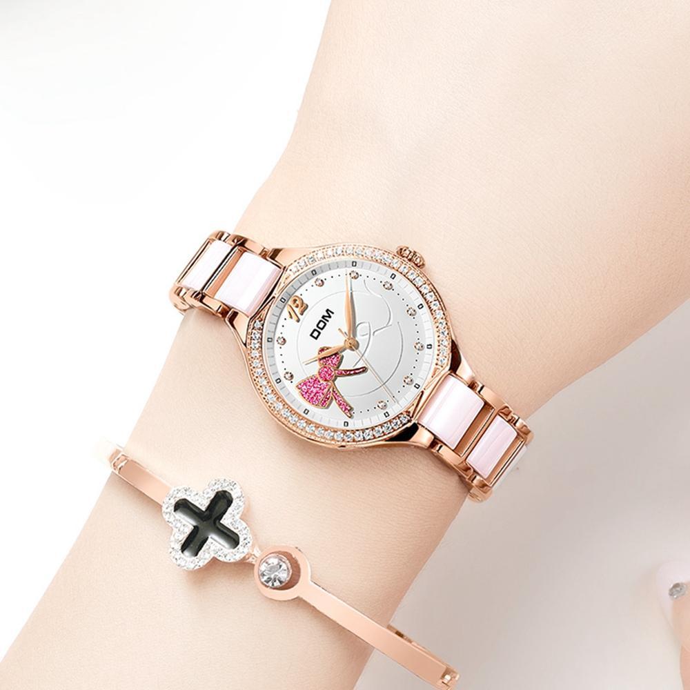 Fashion Women Diamonds Wrist Watches DOM Ceramics Watchband Top Luxury Brand Dress Ladies Geneva Quartz Clock G-1271G-7MH enlarge
