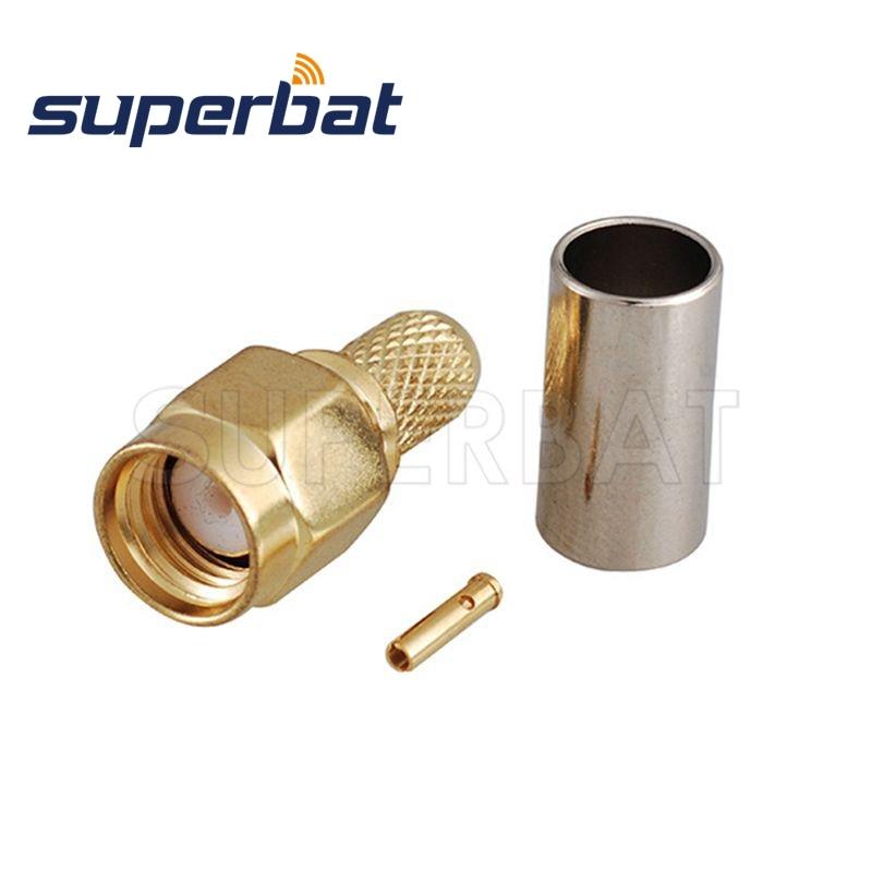 Superbat 10 pces RP-SMA conector coaxial do rf da tomada do friso (pino fêmea) para o cabo rg59, lmr200