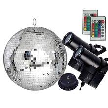 Thrisdar Dia25CM 30CM Disco miroir boule Kit complet de fête avec 10W RGB LED Pinspot lampes et moteur KTV mariage Disco boule lumière