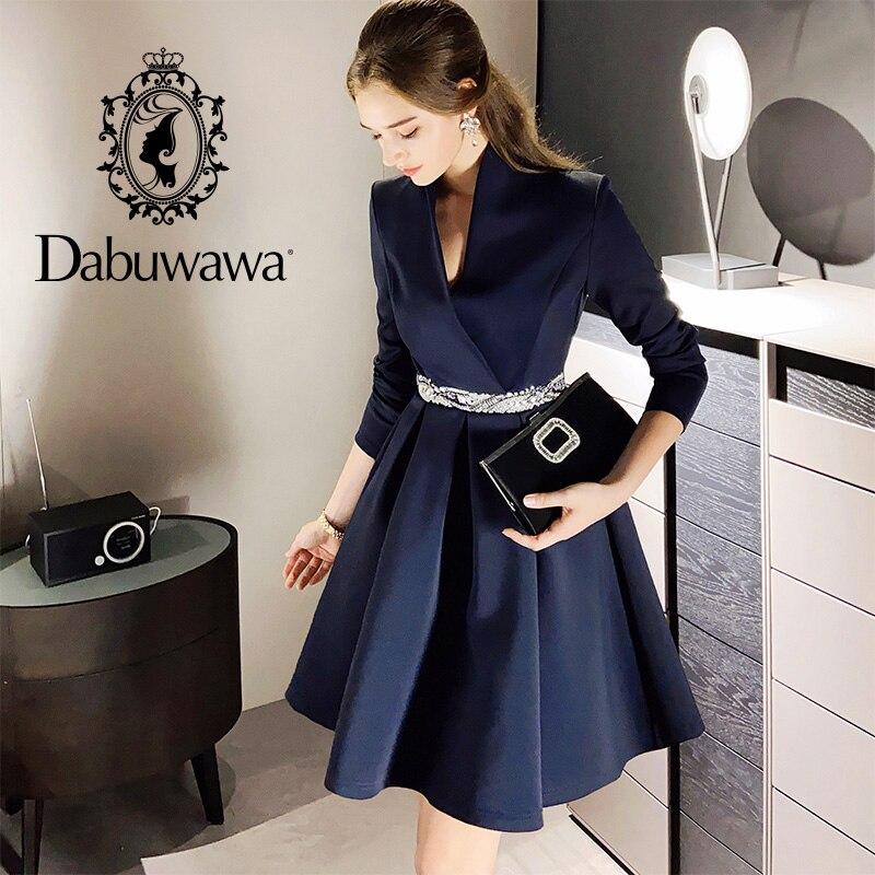 Dabuwawa خمر الماس حزام فستان المرأة أنيقة مكتب السيدات فساتين طويلة الأكمام الخامس الرقبة الإناث الخريف فستان حفلة DO1CDR021