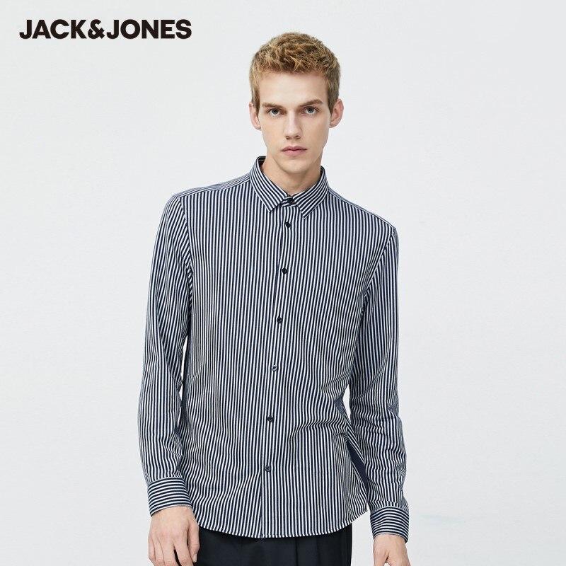 JackJones قميص رجال الأعمال قطني مخطط عادية سليم صالح بأكمام طويلة | 220105512
