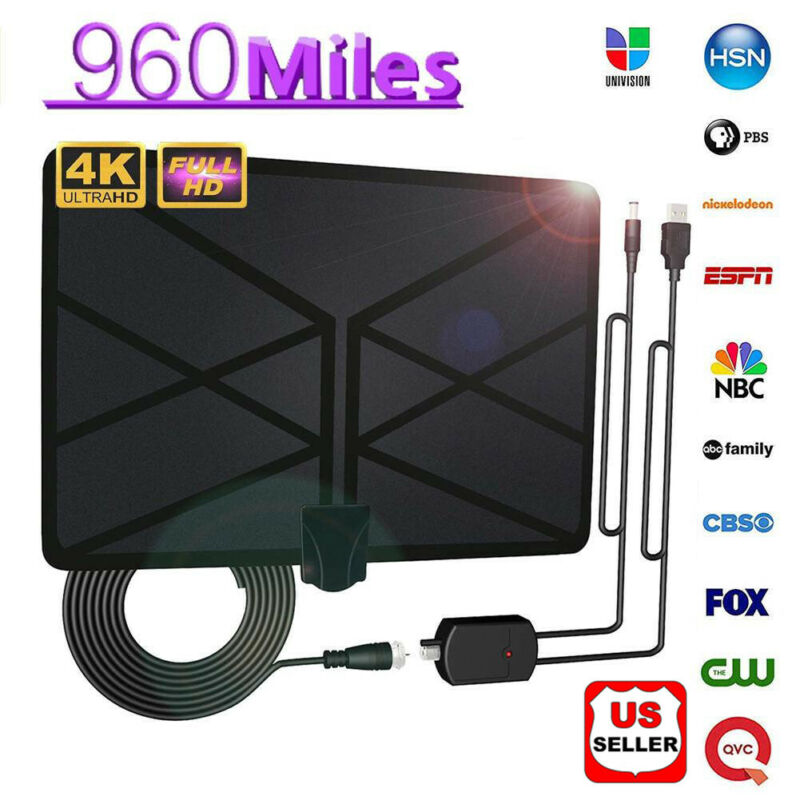 960-milha Antena de TV Digital para HDTV Amplificada Interior com 4K UHD 1080P HDTV TV Antena Interior 3F01
