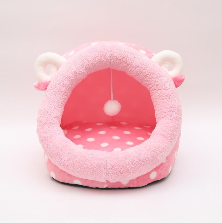 Cama de Gato, casa de perro caliente para gatos con colchón extraíble, jaula para cachorros, tumbona, casa de invierno para gatos, cesta rosa, bonito cojín de gato
