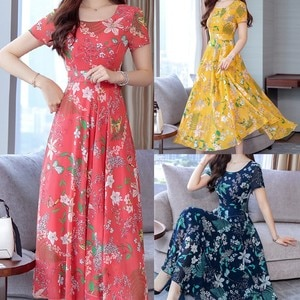 Maxi Dress Women Fashion Summer Grace Mid-Calf  Short Sleeve Beach Printing Dress Fit and Flare O-Neck Bohemian dresses for Lady