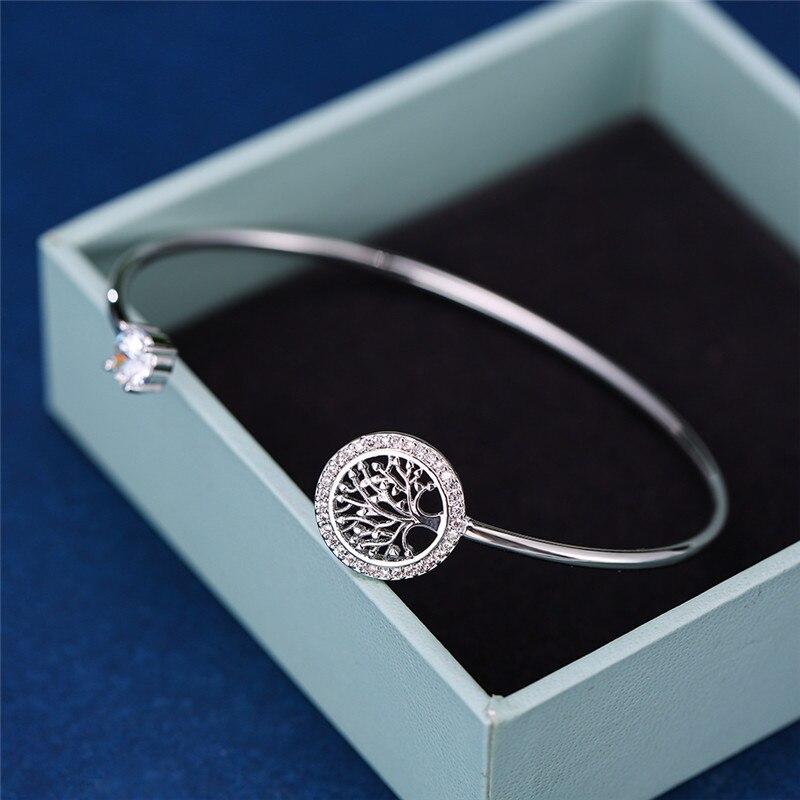 Pulsera de piedra blanca de circón de lujo para mujer, pulseras ajustables de árbol de la vida para mujer, bonita pulsera de Color plateado para boda