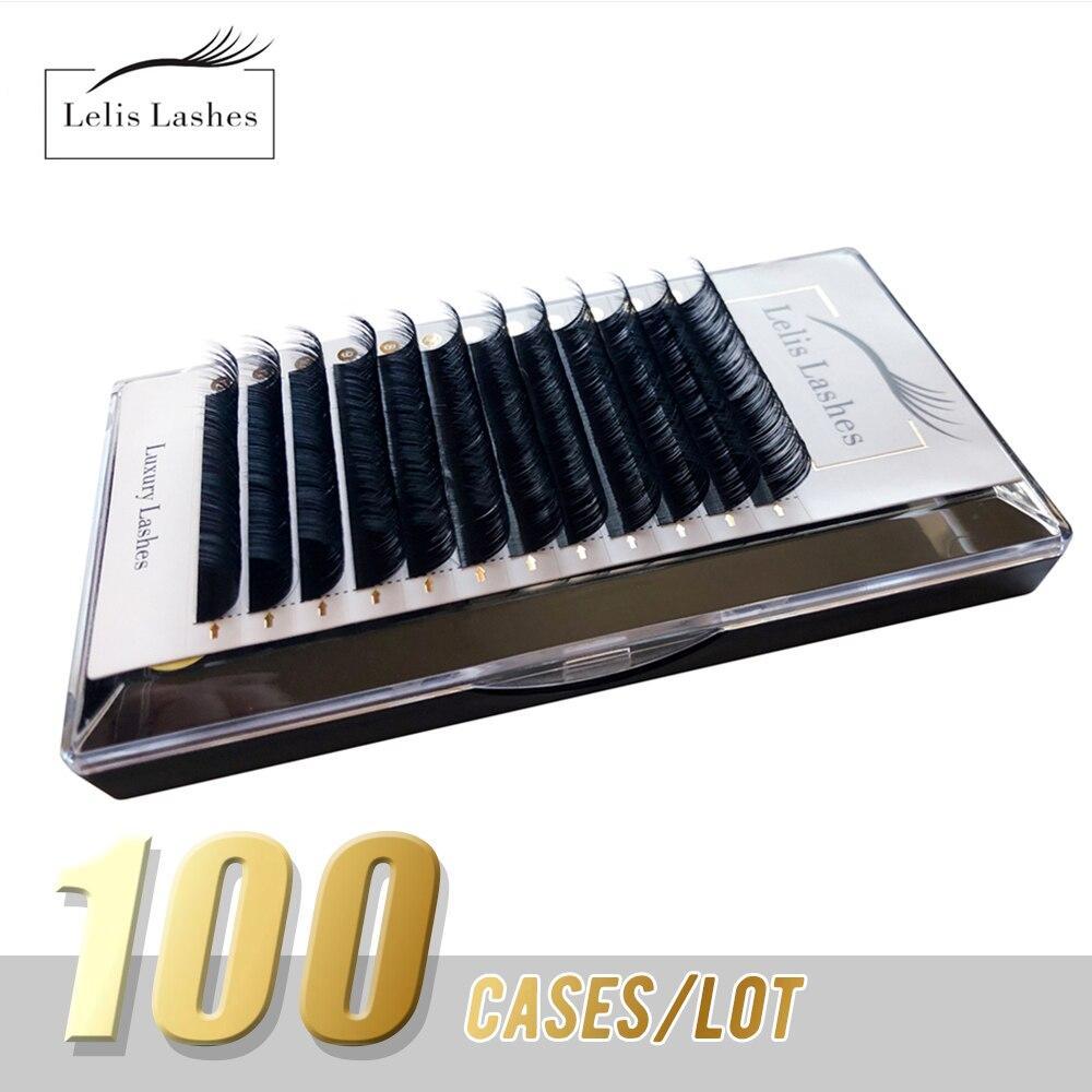 مجموعة/مجموعة رموش 100 من lelisgraceرموش فردية للمكياج 12 صف مزيج من 7-14 رموش من الحرير الناعم الطبيعي Maquillaje Cilios