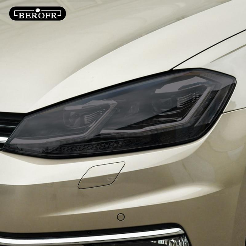 سيارة مصباح أمامي ملون أسود طبقة رقيقة واقية الضوء الخلفي شفاف بولي Sticker ملصق ل Volkswagen VW Golf 7 MK7 2012-2019 اكسسوارات 2P