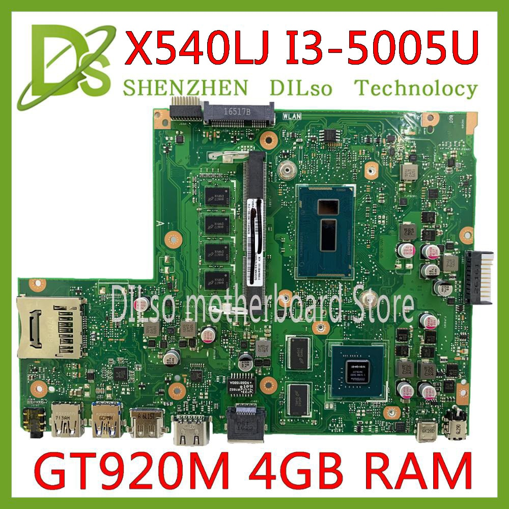 KEFU X540LJ اللوحة الأم ل ASUS X540L F540LA X540LA اللوحة المحمول 4G RAM I3-5005U REV2.1 اختبار العمل 100%