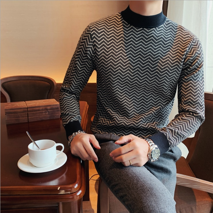 Men's Sweaters Autumn/Winter Half-high Neck Long-sleeved Top British Style Mid-neck Pullovers Knit Bottoming Shirts Clothing Hot