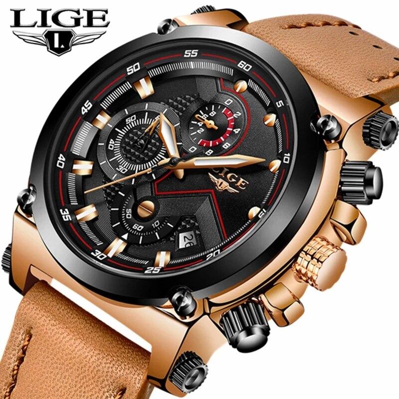 LIGE Fashion Men Watches Top Brand Luxury Casual Quartz Sport Watch Waterproof Leather Military Wristwatch Relogio Masculino