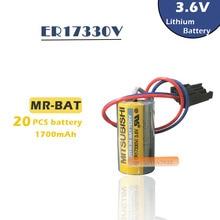 20pcs New Original For Mitsubishi ER17330V MR-BAT CNC 3.6V 1700mah PLC Lithium Battery Batteries with Plug Free Shipping