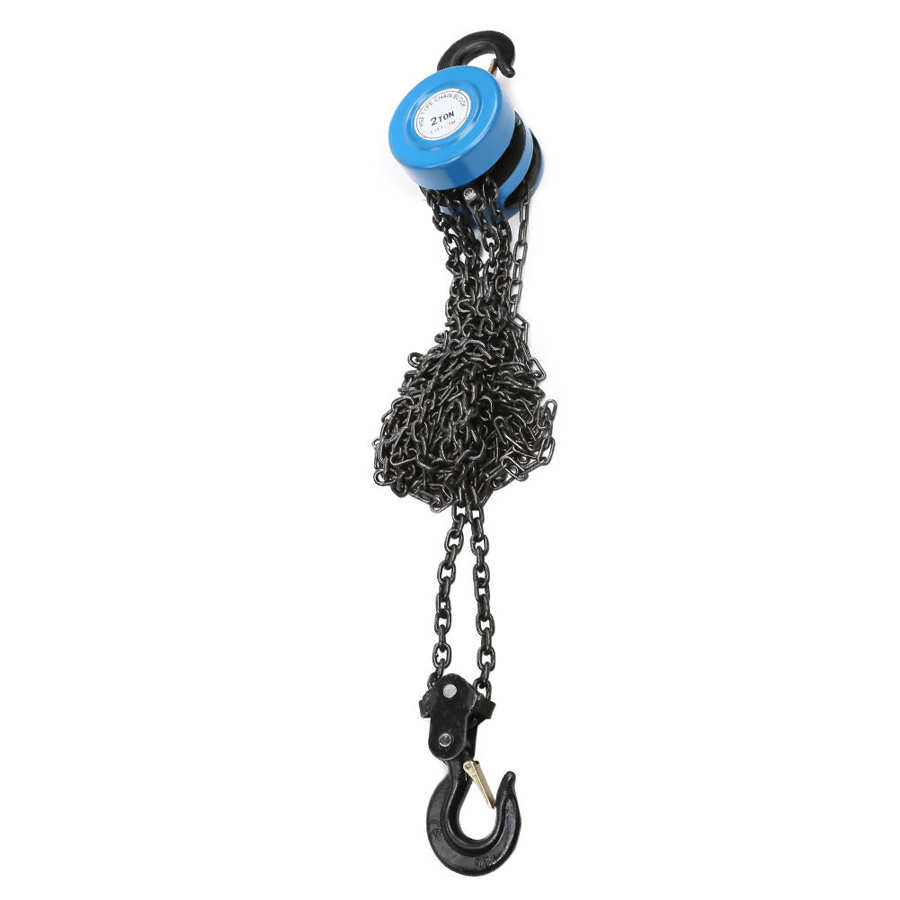 2T Weight Lifting Chain Hoist Block Puller Block Fall Chain Hoist 3 meters Lifting Height Lifting Chain with Hook metal chain