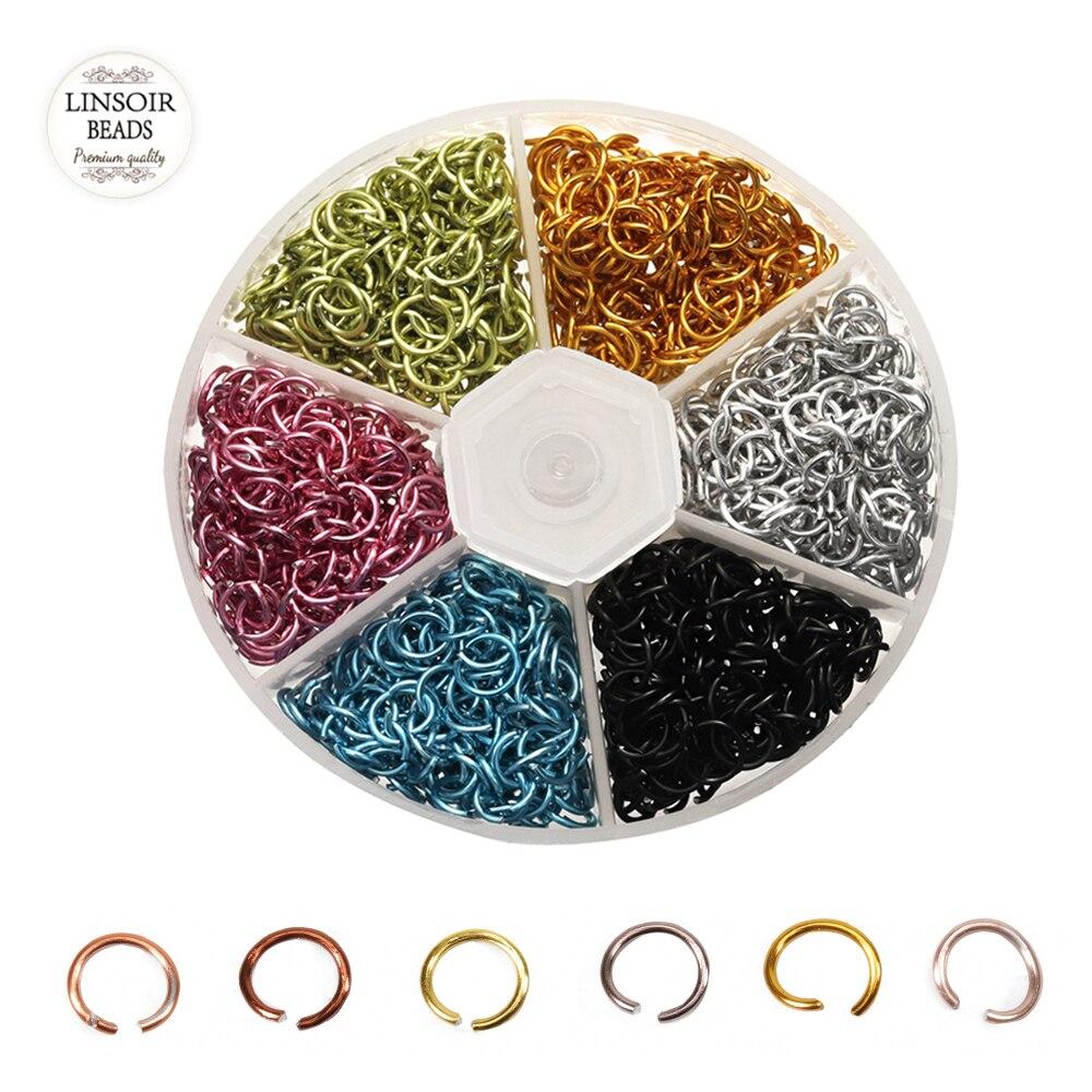 Anillos de apertura y apertura con caja de 1080 unids/caja de colores variados, al por mayor, de 6mm de ancho, 0,8mm de tono abierto con herramientas de apertura/cierre, anillo Diy para hacer joyas