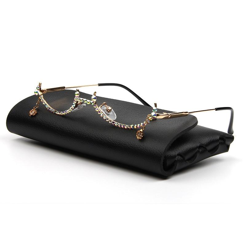 Fashion Eyeglasses Alloy Frame Water Drop lens less Chain Pendant Half Frame Women Luxury Diamond Gl