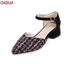 CDAXIALN NEW arrivals sandals women  knitted cotton fabric pointed toe Mid-empty buckle cover heel square heels sandals summer
