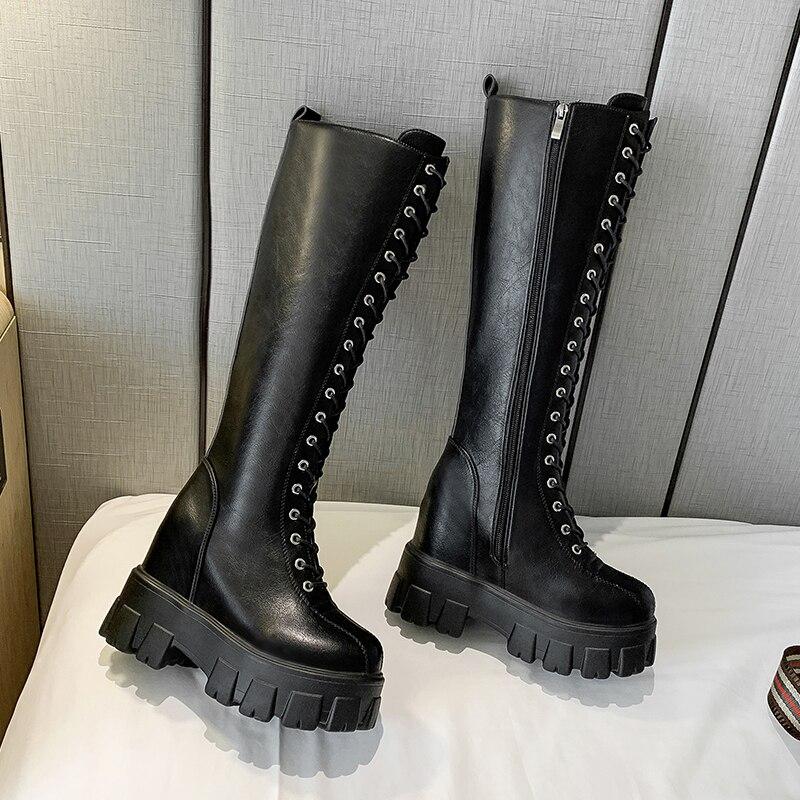 JIN-JIN-53-Thigh высокие сапоги; Женские пикантные ботфорты из натуральной кожи на не сужающемся книзу массивном каблуке; Модные Дизайнерские Сапоги выше колена