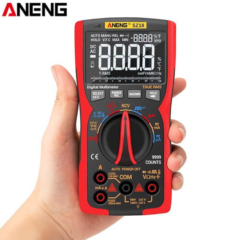 Aneng sz18 9999 contagens verdadeiro profissional rms multímetro digital analógico tester multimetro diy saída de onda quadrada transistor