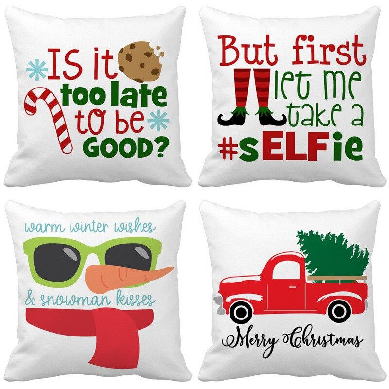 2019 Navidad Santa Claus funda de cojín con letras sombrero coche almohada fundas adornos navideños para el hogar funda de almohada niños dormitorio