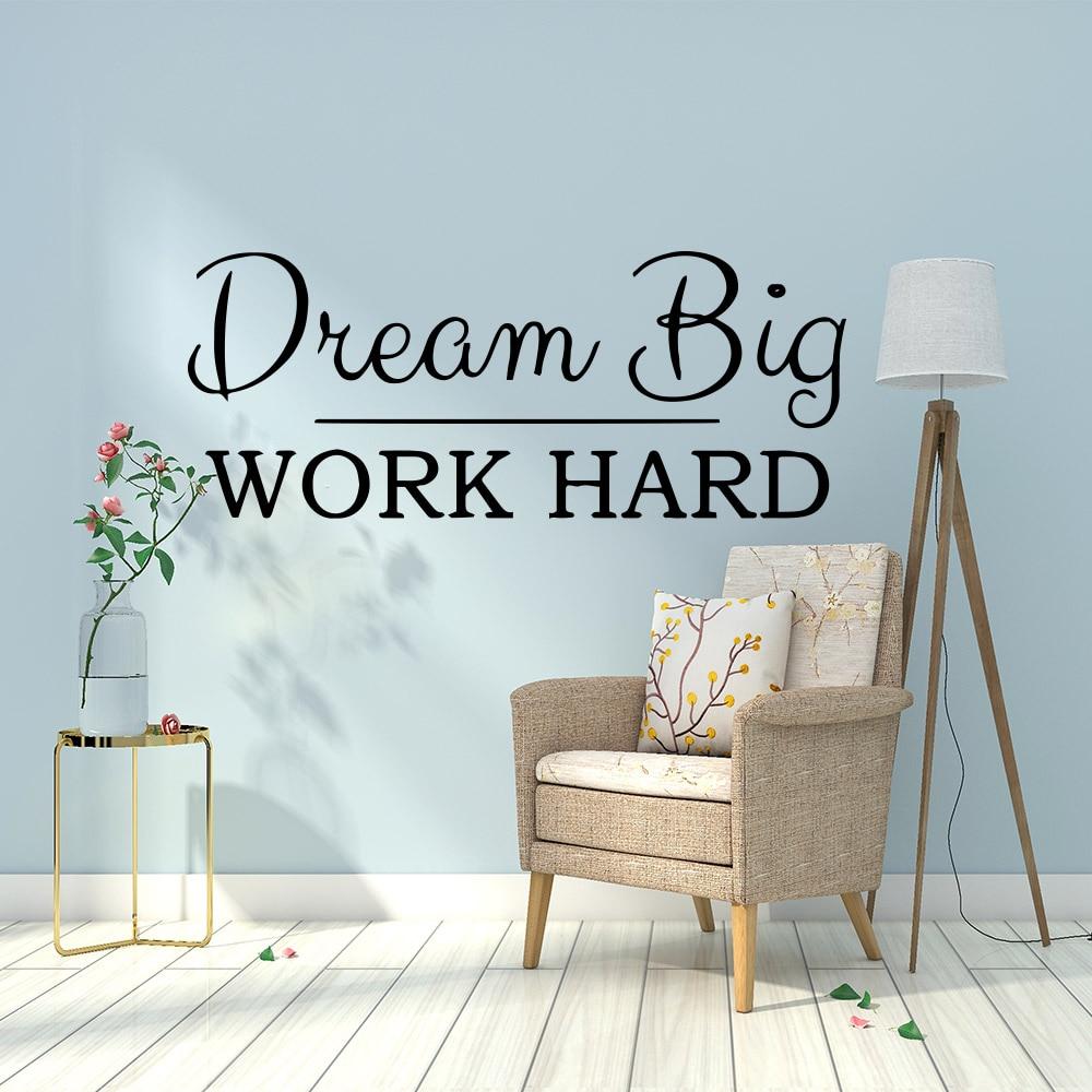 Dream Big work hard office Decals phrase Vinyl Wall Sticker For Office Room Wall Decor Quote wallpaper vinilo decorativo fraae