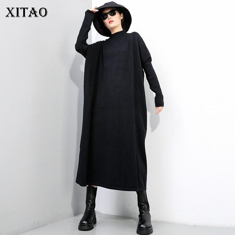 Xitao camisola de malha moda nova feminina plissado pulôver deusa fã elegante 2020 inverno casual estilo solto camisola zy1430