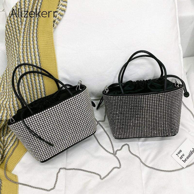 حقيبة يد نسائية فاخرة من حجر الراين ، حقيبة كتف صغيرة مع سلسلة ألماس مربعة متقاطعة ، جودة عالية ، عصرية ، 2020