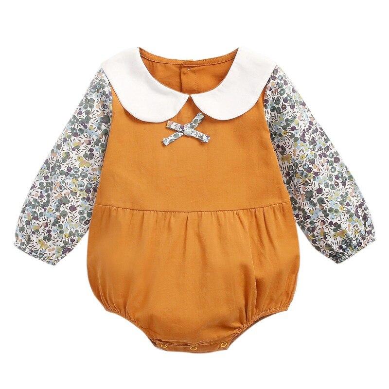 Otoño infantes bebés niñas Romer manga larga estampado Floral Patchwork mamelucos niños mono trajes ropa