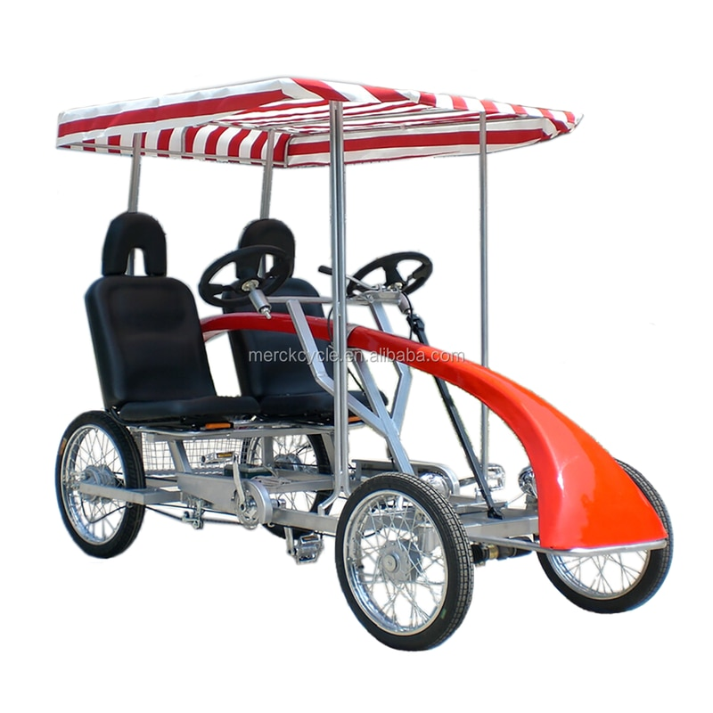 Park Rental Use Sightseeing City Touring Family Use 4 Person 4 Wheel Quadricycle Double Bench Surrey Bike