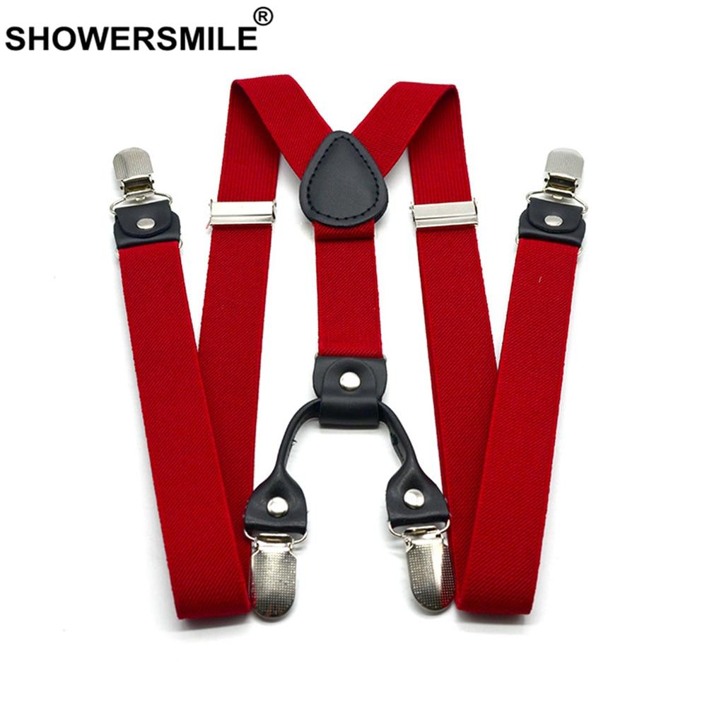 SHOWERSMILE Red Suspenders Men Classic Pants Strap Y Back 120cm Casual Retro Trouser Braces 4 Clips