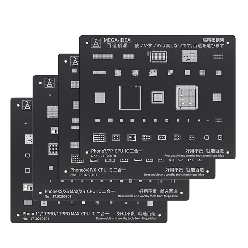 Black Steel BGA Reballing Stencil Kit for iPhone 11 11Pro XS XS MAX XR X 8P 8 7P 7 6S 6 CPU IC Chip Tin Planting Soldering Net