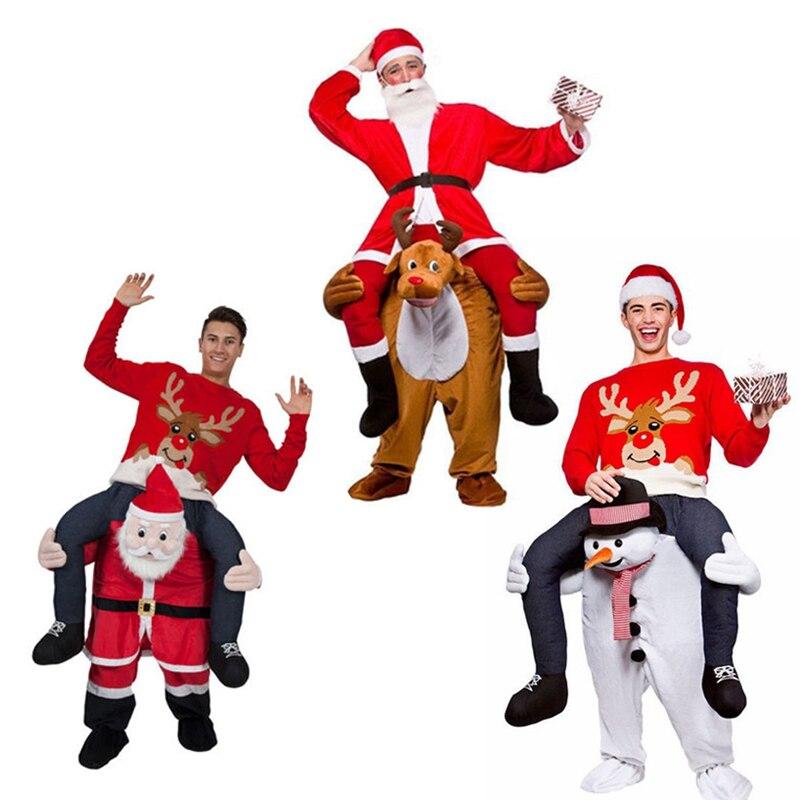 Santa Claus novedad paseo en mi disfraz llevar de vuelta divertidos caballos animales pantalones de montar Oktoberfest Halloween fiesta Cosplay ropa