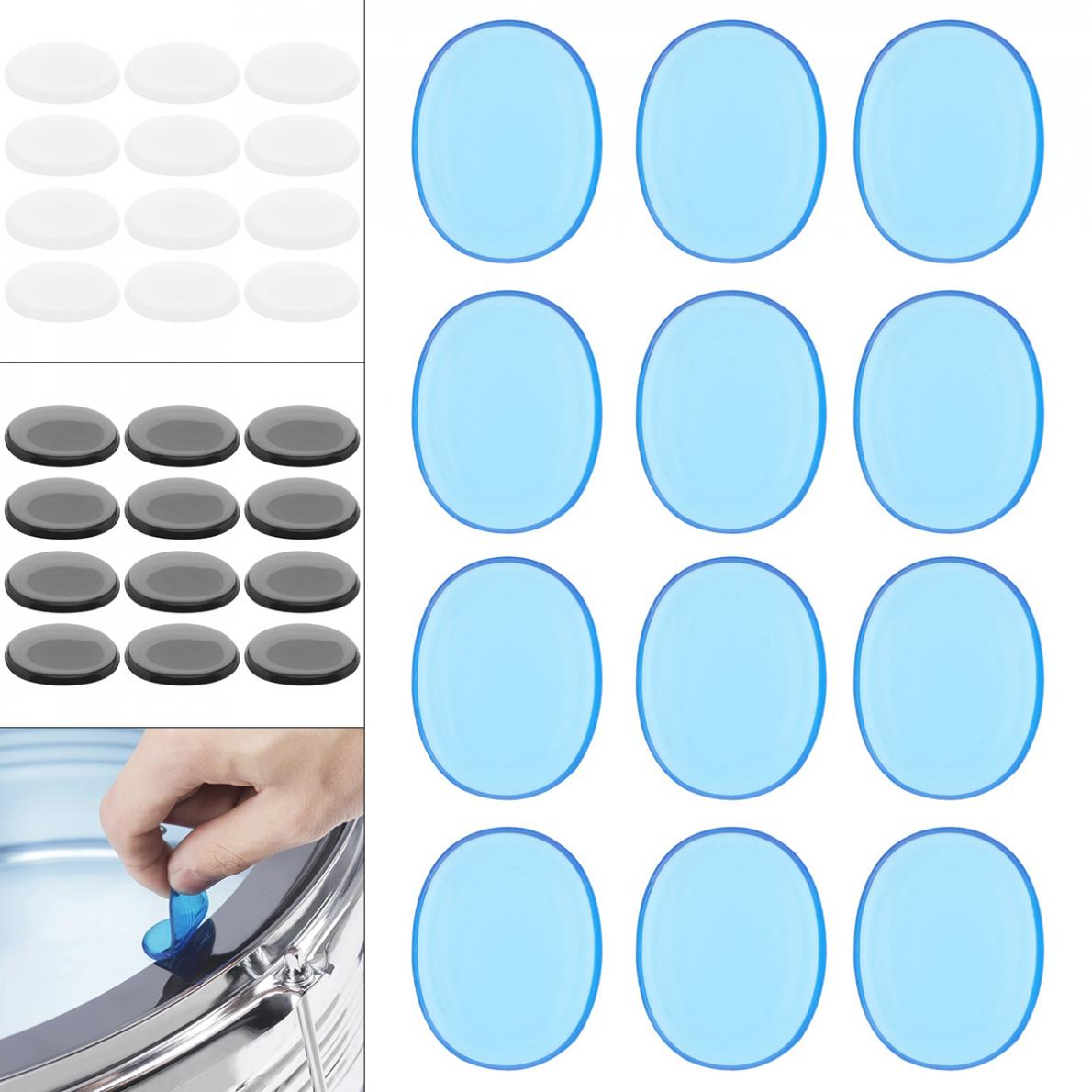 12pcs/set Drum Mute Pad Transparent Silicone Jazz  Snare Drum Muffler  3 Colors Optional 10pcs bass snare drum sound off mute silencer drumming rubber practice pad set professional dropshipping
