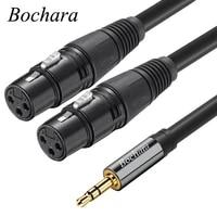 bochara 3 5mm stereo jack male to dual xlr female ofc aux audio cable foilbraided shielded 1 5m 3m 5m