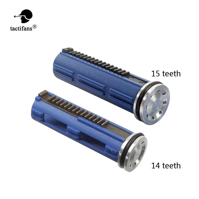 Tactifans CNC acero completo 14 15 dientes pistón con cabeza de pistón de aluminio serie M4 AK conjunto para Airsoft AEG caja de cambios V2 V3 V6
