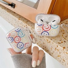 Cute Colorful smile Key Chain for airpod Pro cover soft clear tpu Wireless bluetooth protection for airpodd 1 2 cases coque back