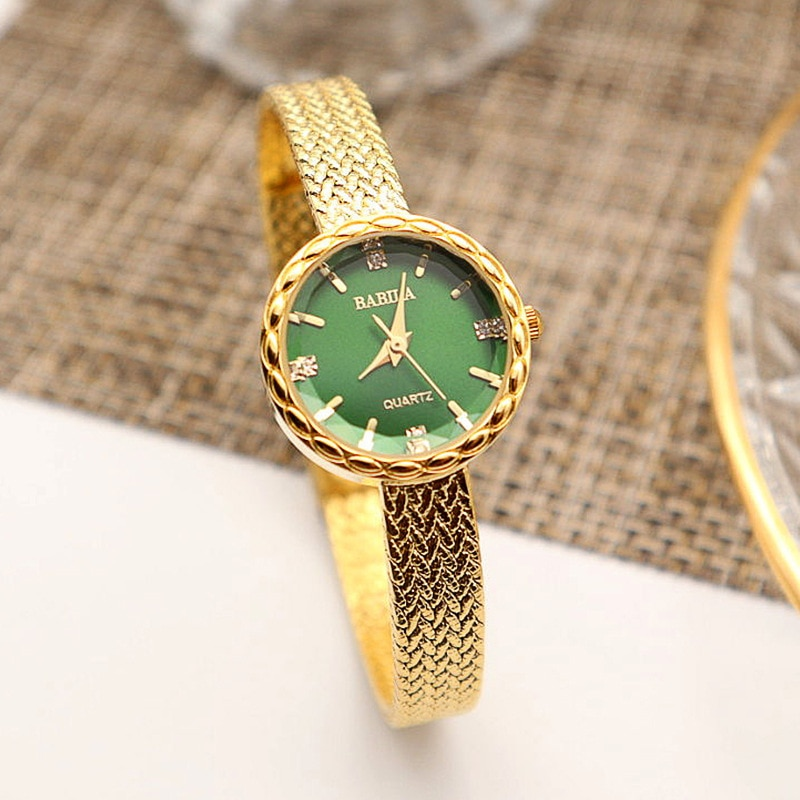 INS Small Gold Watch  Fashion Ladies Watch Retro British Style Japanese Movement Wheat Ear Edge Watch enlarge