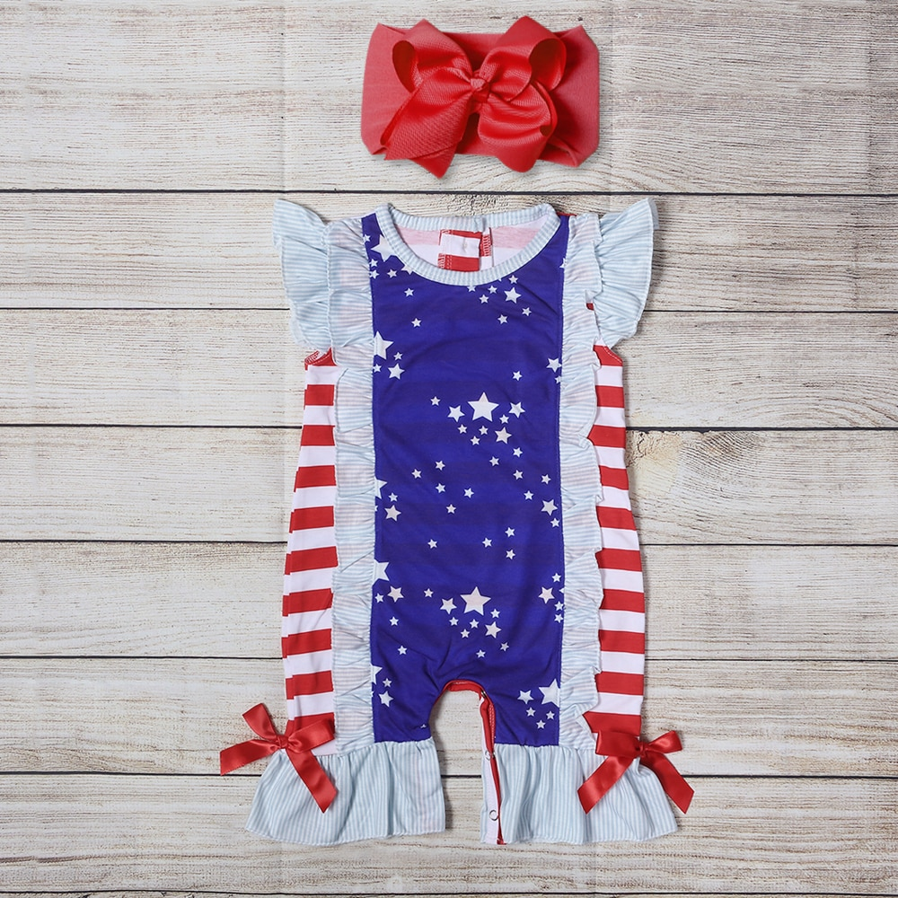 Baby Girls Summer Clothes Girls Red Stripes White Stars Romper Girls Red Bowknot Romper