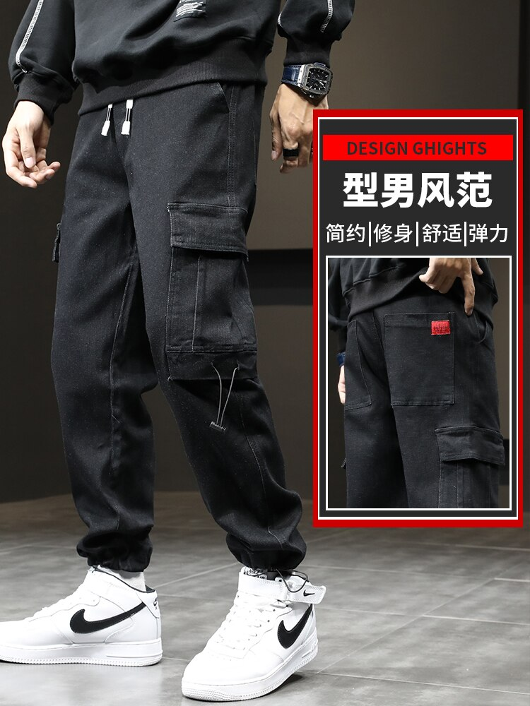 Autumn men's tooling denim pants new casual leggings loose harlan autumn and winter youth